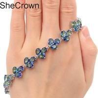 SheCrown Deluxe Fire Rainbow Mystic Topaz Silver Bracelet 7.5 8.0in 16x13mm