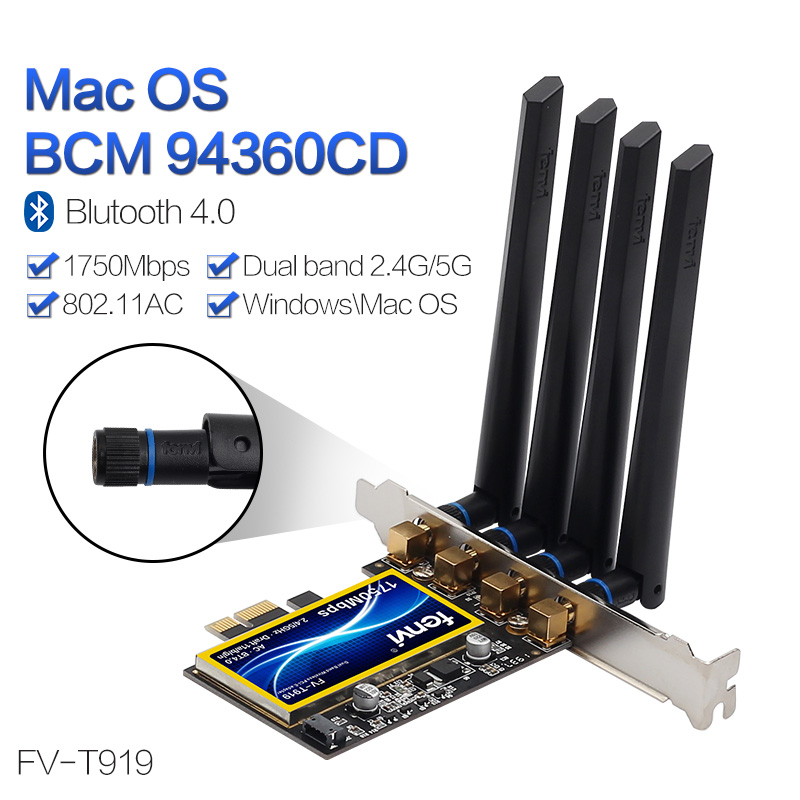 PCI Wi-Fi Adapter Wireless-AC Dual Band 1750Mbps Broadcom BCM94360CD  802.11ac For Hackintosh/Mac OS/Windows With Bluetooth 4.0