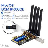 Pci Adattatore Wi-Fi Wireless-Ac Dual Band 1750Mbps Broadcom BCM94360CD 802.11ac per Hackintosh/Mac Os/Finestre con Bluetooth 4.0