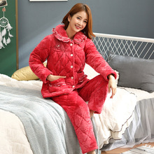 Winter pajamas ladies coral velvet quilted three-layer thick middle-aged mother warm red flannel comfortable home service suit