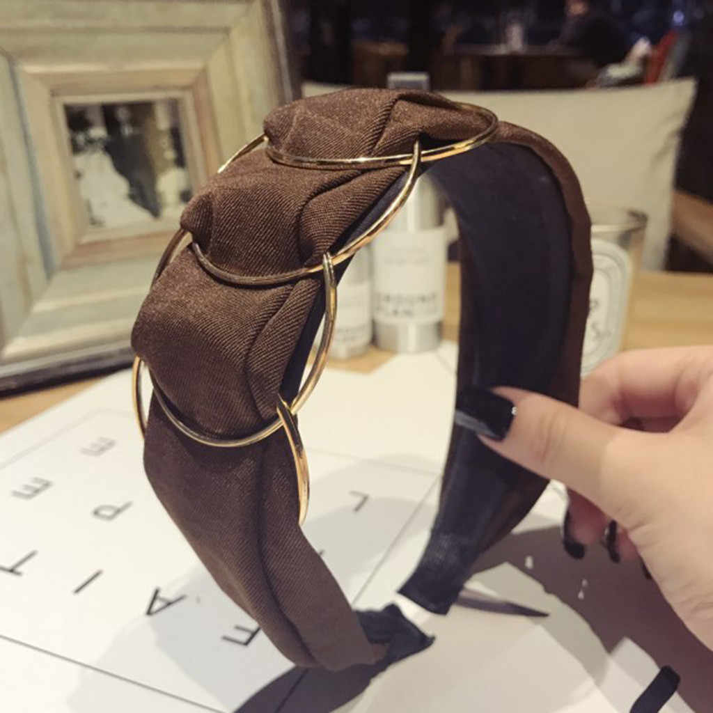 Moda anillo dorado tela diadema mujer de ala ancha Color sólido aros nuevos accesorios elegantes para el cabello
