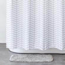 Купить с кэшбэком Aimjerry White and Black Bathroom Fabric Shower Curtain with 12 Hooks 71Wx71H Freeshipping