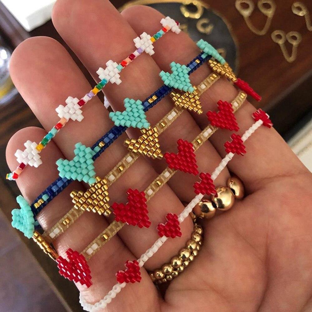 Go2boho Bracelet For Girl Miyuki Bracelet For Women Gift Boho Bead Designs Heart Pulseras Fashion 2021 Jewelry Trendy Jewellery