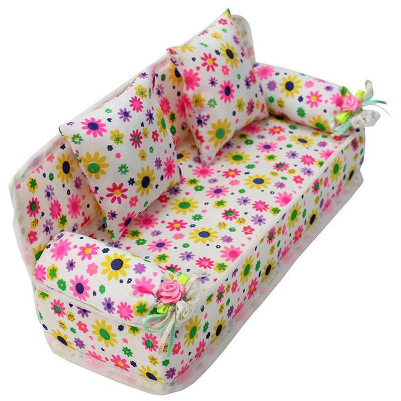 Cute Flower Mini-bed With Two Pillows Mini Dollhouse Furniture Rustic 1:12 Miniature Doll Houses Kids Pretend Play Toys