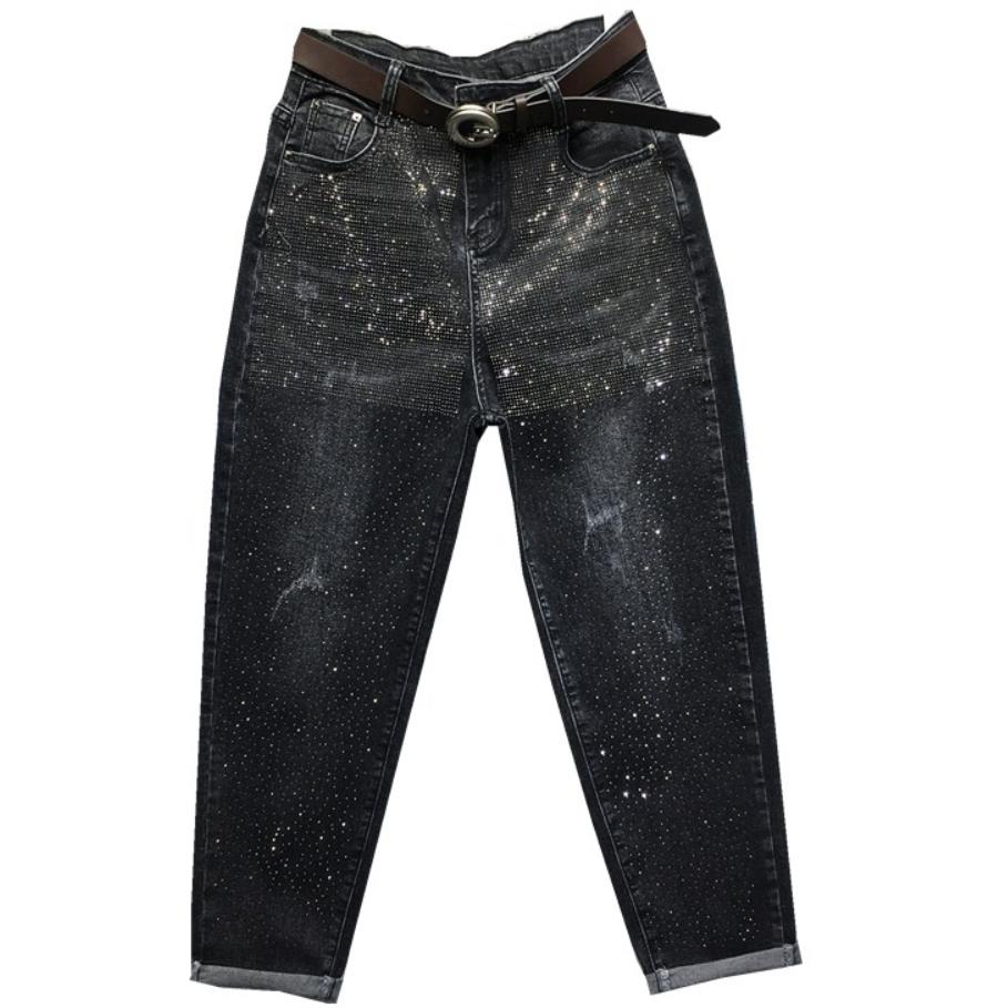 2019 Autumn New Fashion Heavy Work Hot Drilling Jeans Women Loose High Waist Harem Pants Plus Size 26-31!