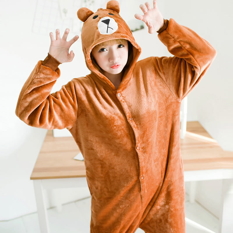 Kigurumi Bear Long Sleeve Hooded Onesie Men Women Combinaison Pyjama Flannel Warm Whole Onepiece Animal Pajamas Kugurumi Onisie