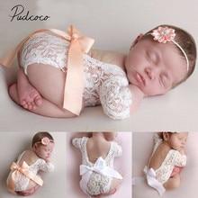 Аксессуары для малышей кружева для новорожденных фото одежда бант кружева набор с головной повязкой реквизит для фотосъемки облегающий костюм с вырезом на спине+ повязка на голову