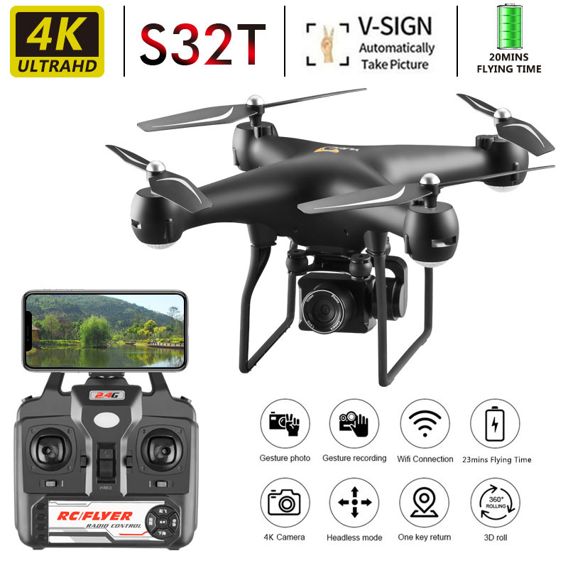Drone 4k S32t Rotating Camera Quadcopter Hd Aerial Photography Air Pressure Hover A Key Landing Flight 20 Minutes Rc Helicopter|RC Helicopters| |  - title=