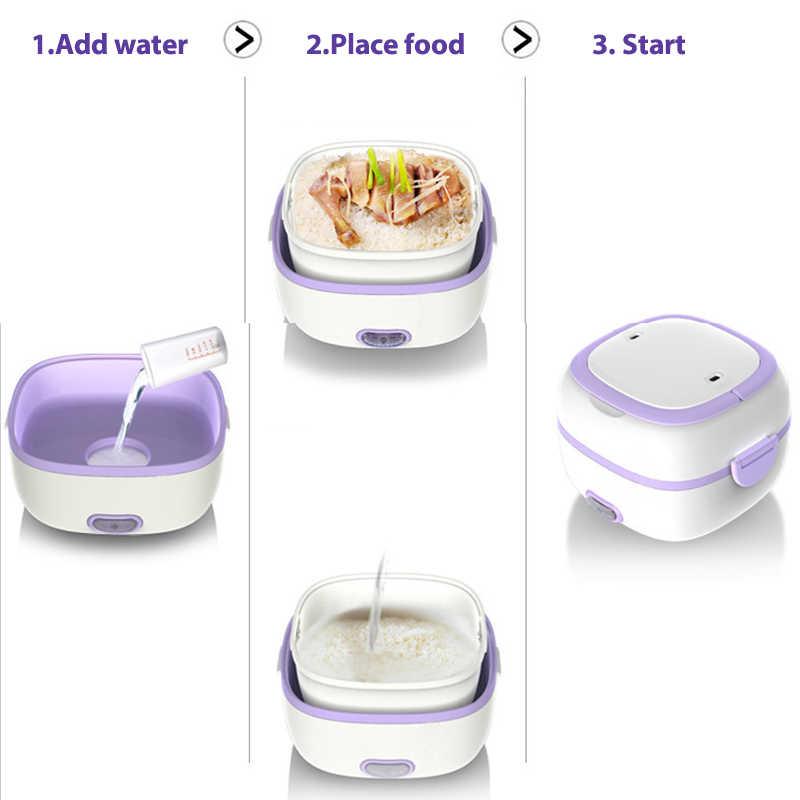Mini kuchenka do ryżu ogrzewanie termiczne elektryczne pudełko na Lunch 2 warstwy przenośne jedzenie parowiec gotowanie pojemnik wielofunkcyjny Lunchbox