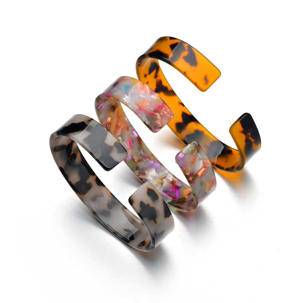 2019 offre spéciale écaille de tortue acrylique Bracelet femmes acrylique léopard résine ouverte manchette Bracelet pour bohême mode Bijoux cadeau