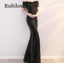 Rubilove Long fishtail sequin dress skirt 2019 new word shoulder slimming banquet annual meeting host noble female