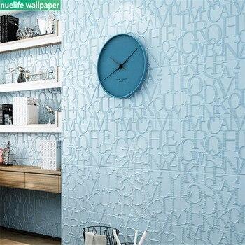 Sky blue English letter 3d bubble wallpaper moisture proof mildew children room TV background wall self-adhesive wallpaper