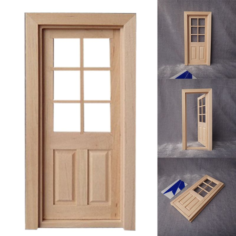 Free Shipping 1 Pc 1:12 Dollhouse 6 Grids Wood Door Miniature DIY Interior Building Material