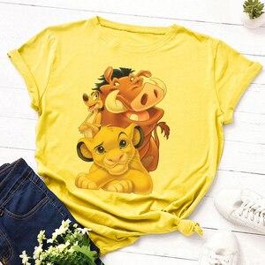 Harajuku Streetwear Short Sleeve T-shirt 2020 Summer Lovely Lion King Japanese Vogue New Cartoon Kawaii Print Women Tshirt