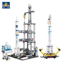 KAZI 83001 822 шт космическая серия ракетная станция Строительный блок Набор для детей DIY Сборные кирпичи игрушки подарки Совместимость legoingly город