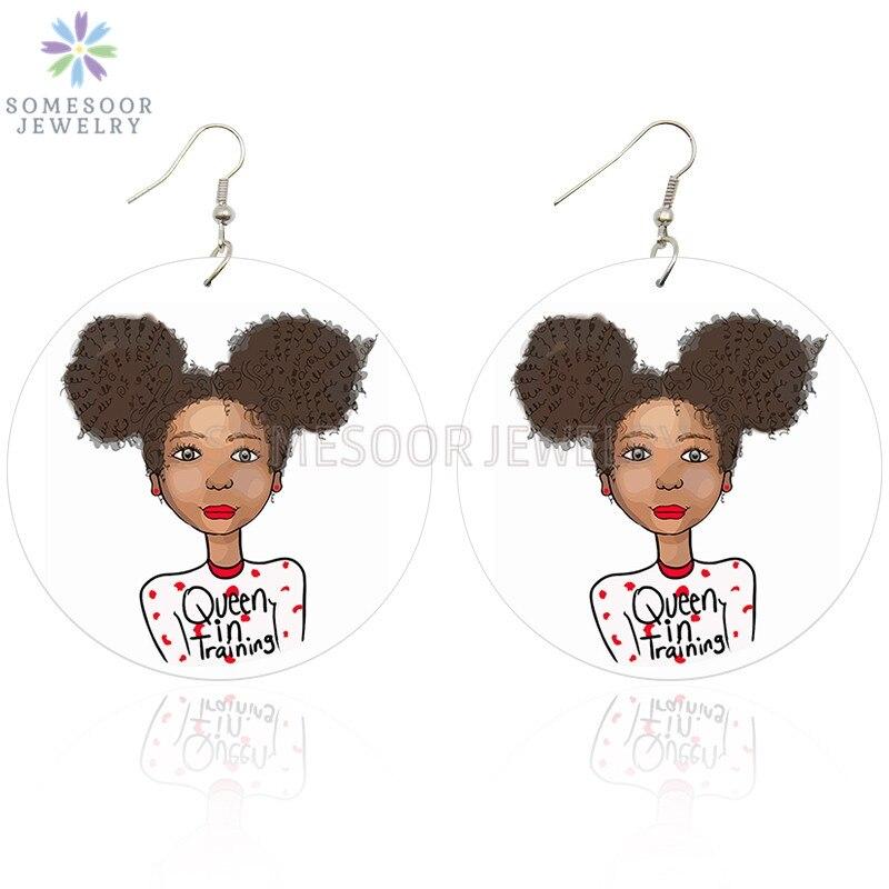 SOMESOOR, новинка 2020, милые серьги Soul Girl Afro, для обучения королевы, деревянные висячие серьги, Африканское дерево, Висячие подвески, ювелирные из...