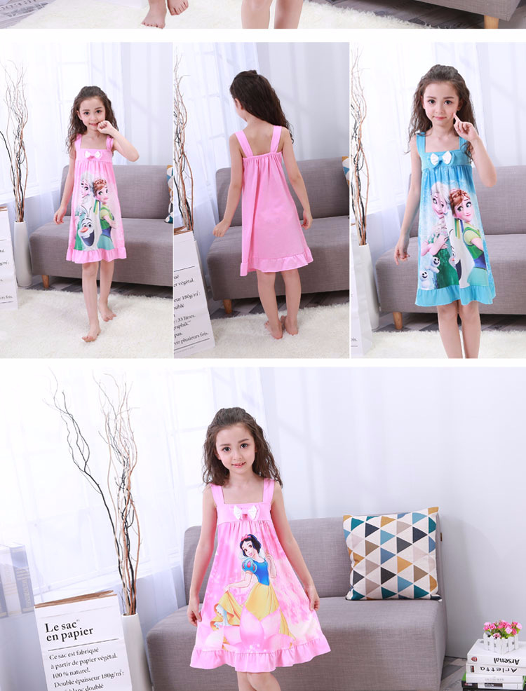 Anna Elsa Dress Girls Nightdress Clothes Summer Cartoon Nightgown Children Clothing Short Sleeved Pajamas Dress Kids Homewear