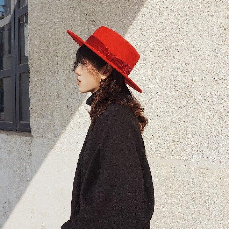 Big Red Flat Hat Female Autumn And Winter Original Tide British Retro Street Woolen Felt