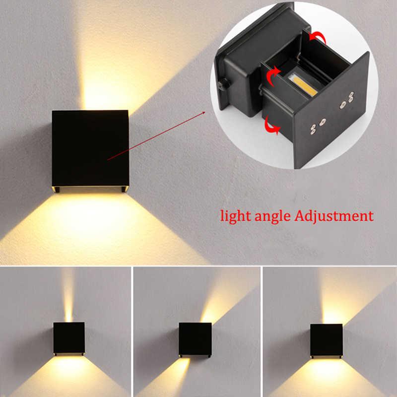 Lámpara LED de pared ajustable de 6W, impermeable al aire libre, IP65, decoración para sala de estar, lámpara de iluminación para jardín, lámpara de pared del porche, AC85-265V