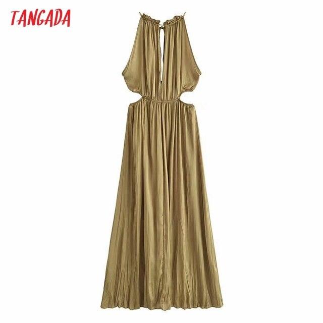 Tangada Women Sexy Satin Cut-out Dress Sleeveless Backless 2021 Summer Fashion Lady Dresses 3H788 6