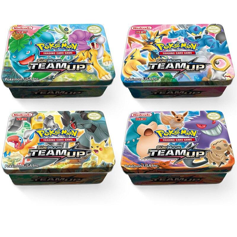 TAKARA TOMY 42 pièces/ensemble Pokemon fer boîte soleil & lune jouets loisirs passe-temps à collectionner jeu Collection Anime cartes cadeau de noël