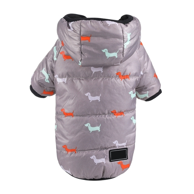 Autumn Winter Clothes For Dogs Dachshund Printed Cotton Down Jacket With Leash Ring Thicken Hoodie For Small Medium Dogs Puppy 5