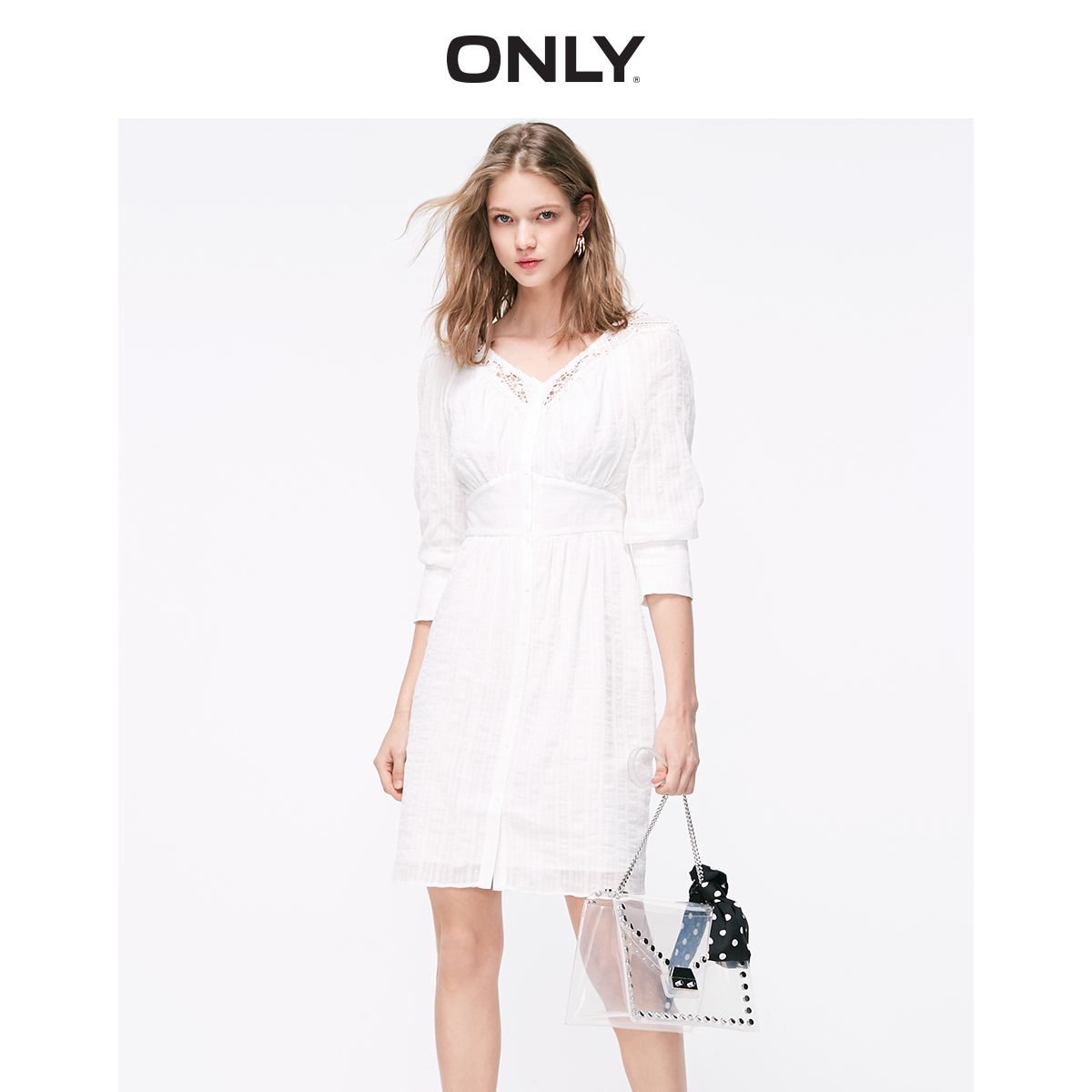 ONLY Women's 100% Cotton Cinched Waist Lace Dress   119107560