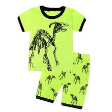 Летний стильный комплект, Детский комплект с короткими рукавами и рисунком динозавра, детская одежда, домашняя одежда, комплект из двух предметов