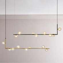 Modern minimalist chandelier lights for kitchen bar table long chandelier led design black loft glass ball hanging light Fixture(China)