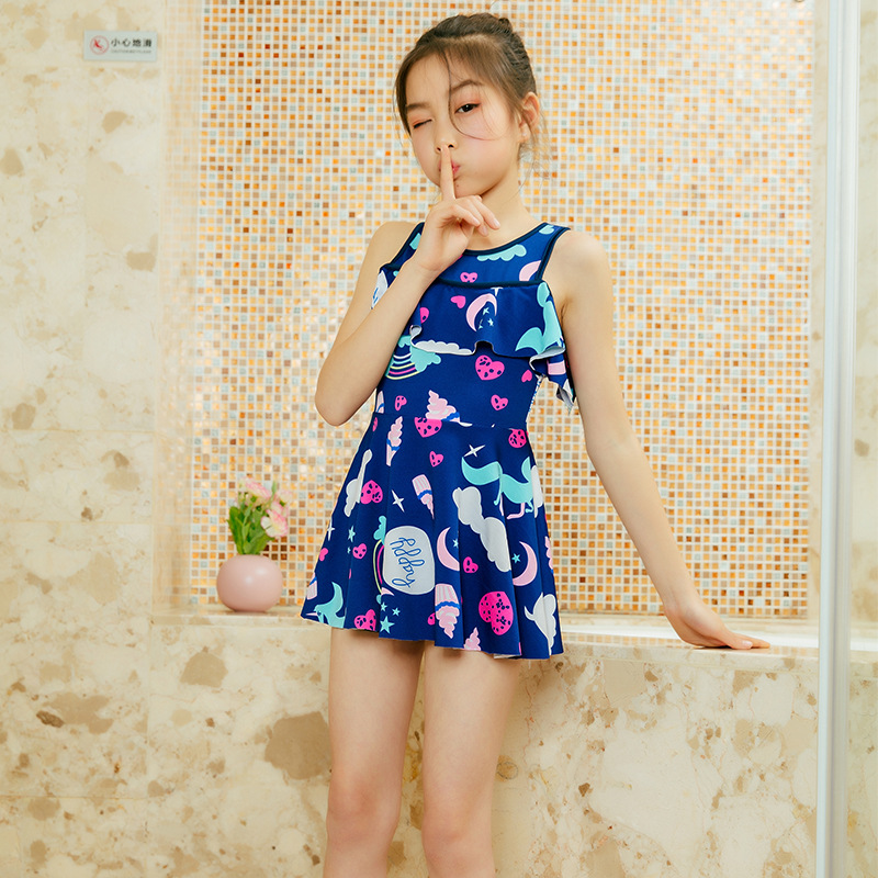 New Style Children Two-piece Swimsuits Korean-style Qmilch Children Bathing Suit 6-9-Year-Old Girls Printed Tour Bathing Suit Sw