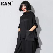 [EAM]2021 nowa wiosna jesień wysoki kołnierz z długim rękawem czarny luźna kieszeń ściegu nieregularne brzegi T-shirt w dużym rozmiarze kobiety moda JQ018