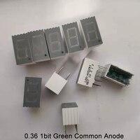 Pantalla LED de 0,36 pulgadas, 1bit, 7 segmentos, 1 dígitos, cátodo común, verde, luz, tubo de 7 segmentos, 10 Uds.