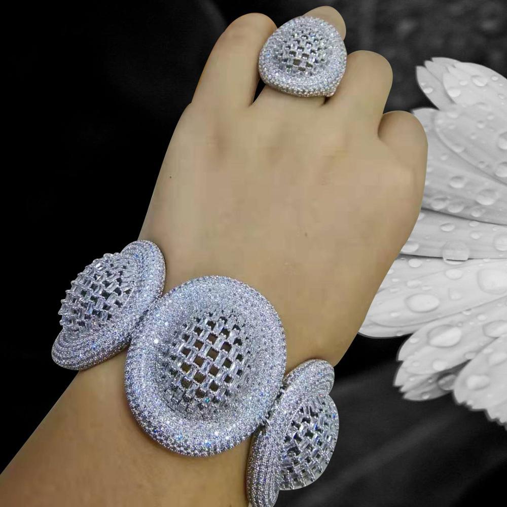 GODKI à la mode disque de luxe initiale ensemble de bijoux pour les femmes de mariage AAA cubique Zircon Dubai Bracelet en argent fête Bracelet anneaux ensembles
