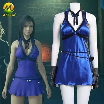 FF7 Final Fantasy VII Remake Tifa Lockhart Cosplay Costume Blue Night Dress Halloween Sexy Dresses for Woman Girls Custom Made