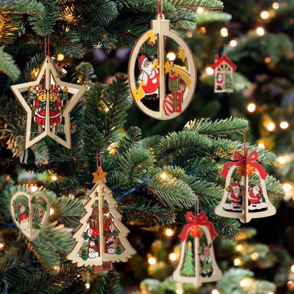 Hanging Wooden Christmas Tree Ornaments Stars Bell Bauble Decorations Hanger