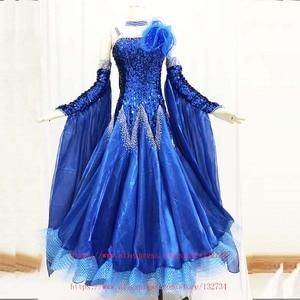 Image 3 - High Quality! rhinethone purple  ballroom dance competition dresses ballroom dresses woman waltz dance dress standard Dress