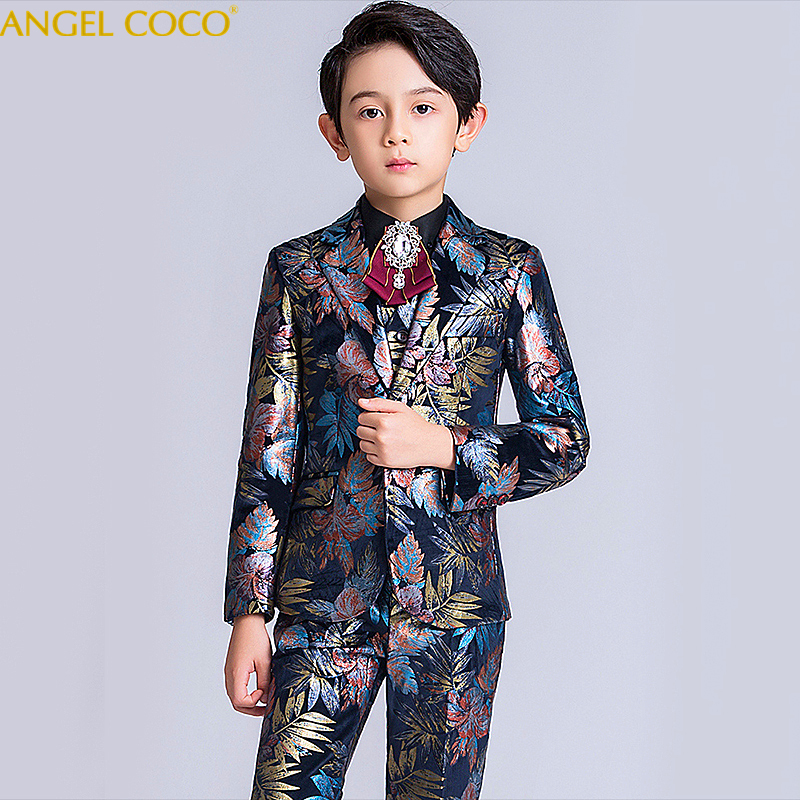 Boys Formal Suit Wedding Dress Gentleman Kids Jacket Vest Shirt Pants Bow Tie 5Pcs Ceremony Costumes Menino Abito Da Ragazzo