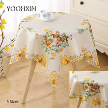 Europe Lace square 5SIZES satin Chicken Embroidered table cover cloth towel kitchen tablecloth Easter party decor