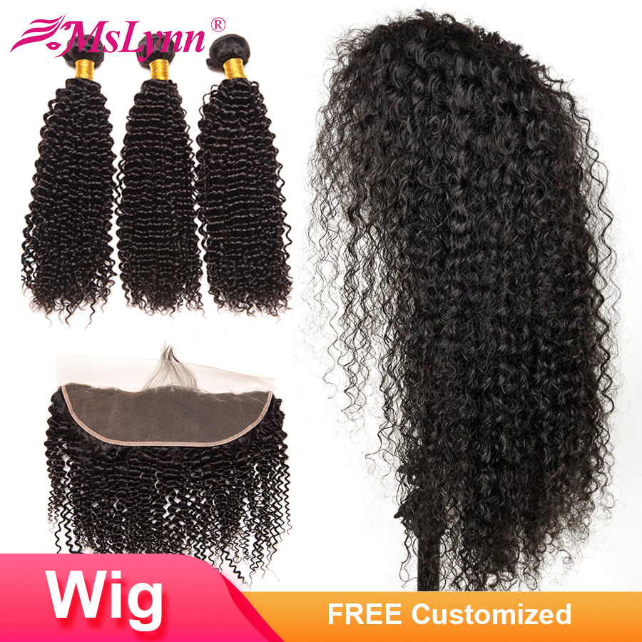 4x13 Lace Frontal Wig Kinky Curly Bundles With Frontal Closure Customized Into Wig Brazilian Human Hair Wigs Mslynn Remy Bundles