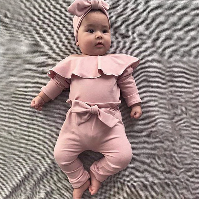 0-24M Infant Baby Girls Bodysuit Long-Sleeved Ruffled Trumpet Sleeves Romper Jumpsuits Toddlers Frill Solid Pajamas Outfits Bodysuit Clothes