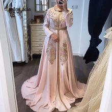 Bbonlinedress pembe fas Kaftan akşam elbise kollu yüksek yaka nakış uzun arapça müslüman resmi kıyafeti robe de soiree