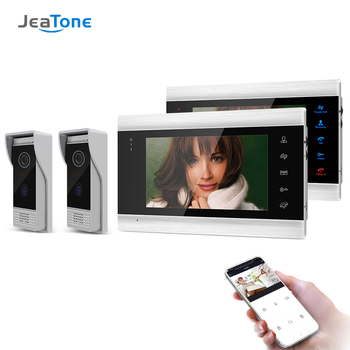 Jeatone 7 Inch Wireless/Wifi Smart IP Video Door Phone Intercom System with 2 Night Vision Monitor + 2 Rainproof Doorbell Camera tmezon 7 inch tft wired smart video door phone intercom system with 2 night vision monitor 2x1200tvl rainproof doorbell camera