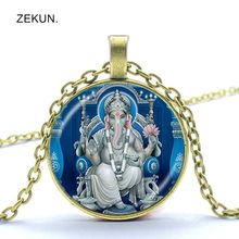 LIAOZEKUN, Indian elephant head god Ganesha's elephant head god glass pendant necklace safe chain men and women necklace jewelry