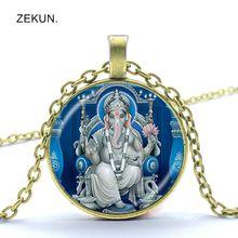 LIAOZEKUN, Indian elephant head god Ganeshas glass pendant necklace safe chain men and women jewelry