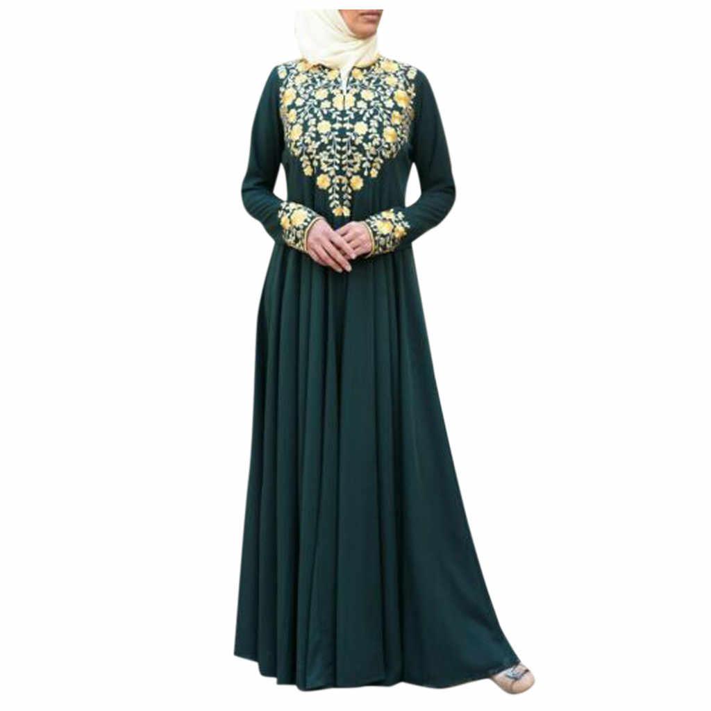 Femme Musulman Pakistan Muslim Wanita Muslim Maxi Dubai Abaya Jubah Islam Kaftan Lengan Panjang Motif S-5XL Baju Muslim