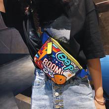 Torebka damska na ramię nadrukowane Graffiti szeroki pasek na ramię torba na klatkę piersiową torebka na ramię torebka # G2 tanie tanio ISHOWTIENDA Flap Torby w klatce piersiowej zipper SOFT NONE Na co dzień Shoulder Bag Brak Wszechstronny WOMEN Kasetony