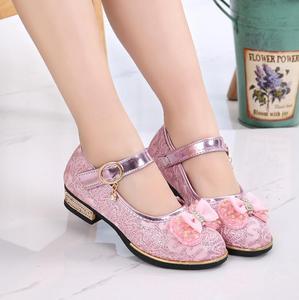 Весенняя детская обувь; танцевальные сандалии принцессы на высоком каблуке для девочек; детская обувь; блестящая кожа; модная нарядная обув...