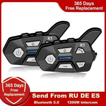 WAYXIN Bluetooth 5.0 Motorcycle Intercom  Helme 2 People 1200M  Talking Universal Pairing Waterproof Interphone Headset FM Radio 1