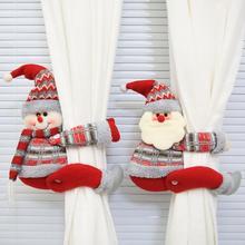Christmas  holiday atmosphere Cartoon Santa Claus Snowman Window Curtain Buckle Tieback Xmas Decor Cute