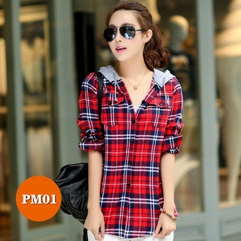 High-end women's plaid shirt Japanese style 100%Cotton Soft Breathable Comfortable Colorfast Anti-Pilling Keep-warm Hooded shirt 4